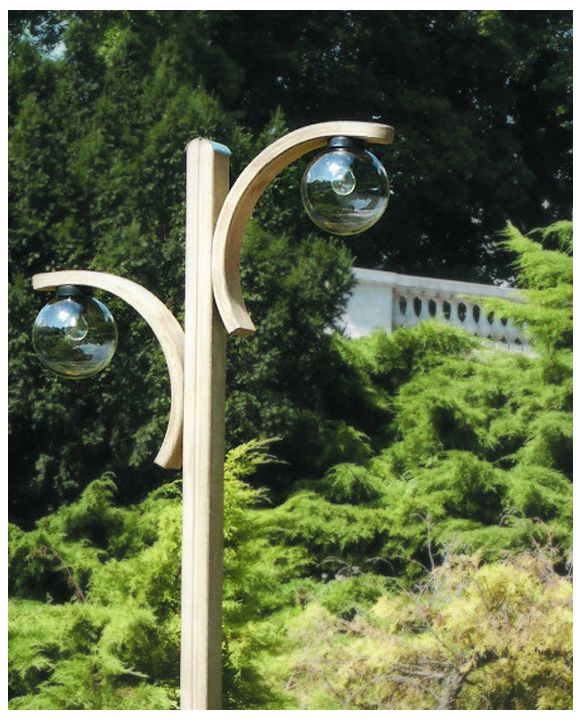 Wooden lamp with two arches